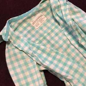 Aéropostale teal white button up